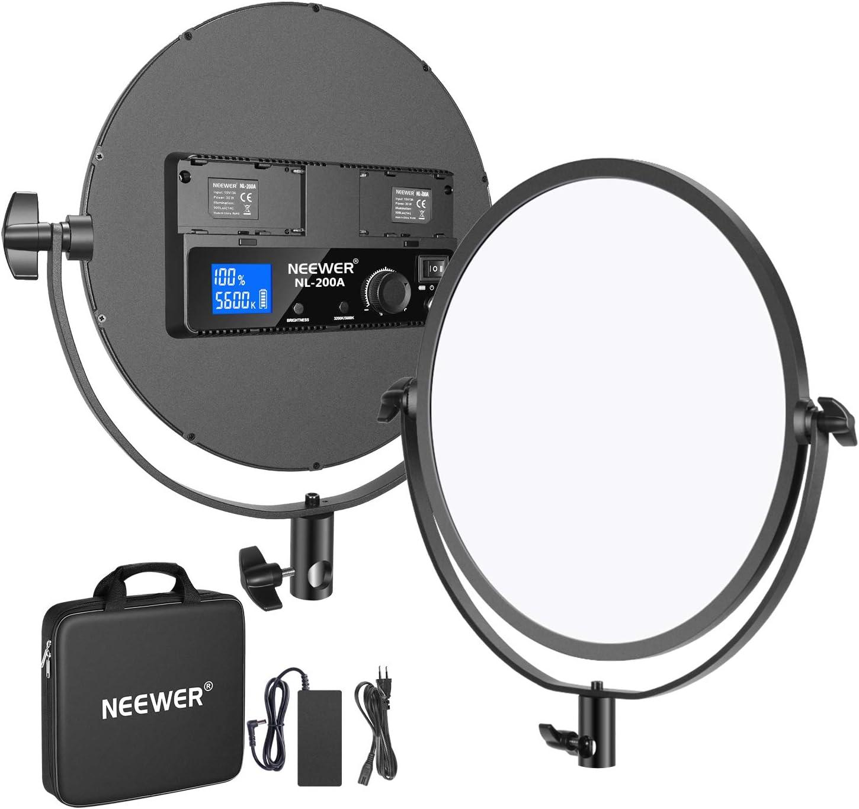 Neewer Metall 10 6 Runde Bi Color Led Videolicht 30w 3200 5600k Cri95 Lcd Display Dimmbar Studio Edge Flapjack Licht Weiche Beleuchtung Mit Batteriehalter Netzteil Batterie Nicht Inklusiv Musikinstrumente
