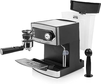 Princess 249407 Máquina de café Espresso, 15 bares de presión, depósito de agua extraíble de 1.6 l, vaporizador de leche para Capuccino o Latte Macchiato, 850 W, Plateado y Negro: Amazon.es: Hogar