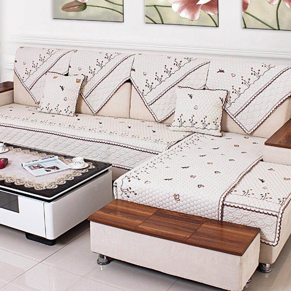蝶 - ベージュの白いソファのクッション、四季の生地の庭のクッション、リビングルームの滑り止めマット ( サイズ さいず : 110*240cm ) 110*240cm  B078RFF6VC