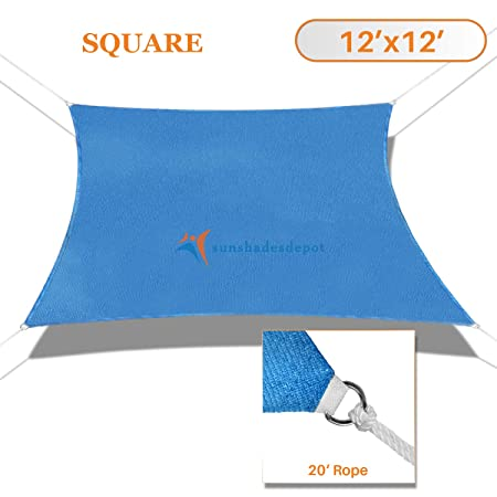 TANG Sunshades Depot 12 x12 Sun Shade Sail Square Permeable Canopy Blue Custom Commercial Standard 180 GSM HDPE