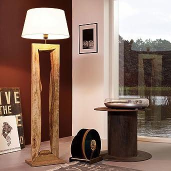 Stehlampe Holz Mit Holzstamm Weisser Schirm Led Lampe Selber ...