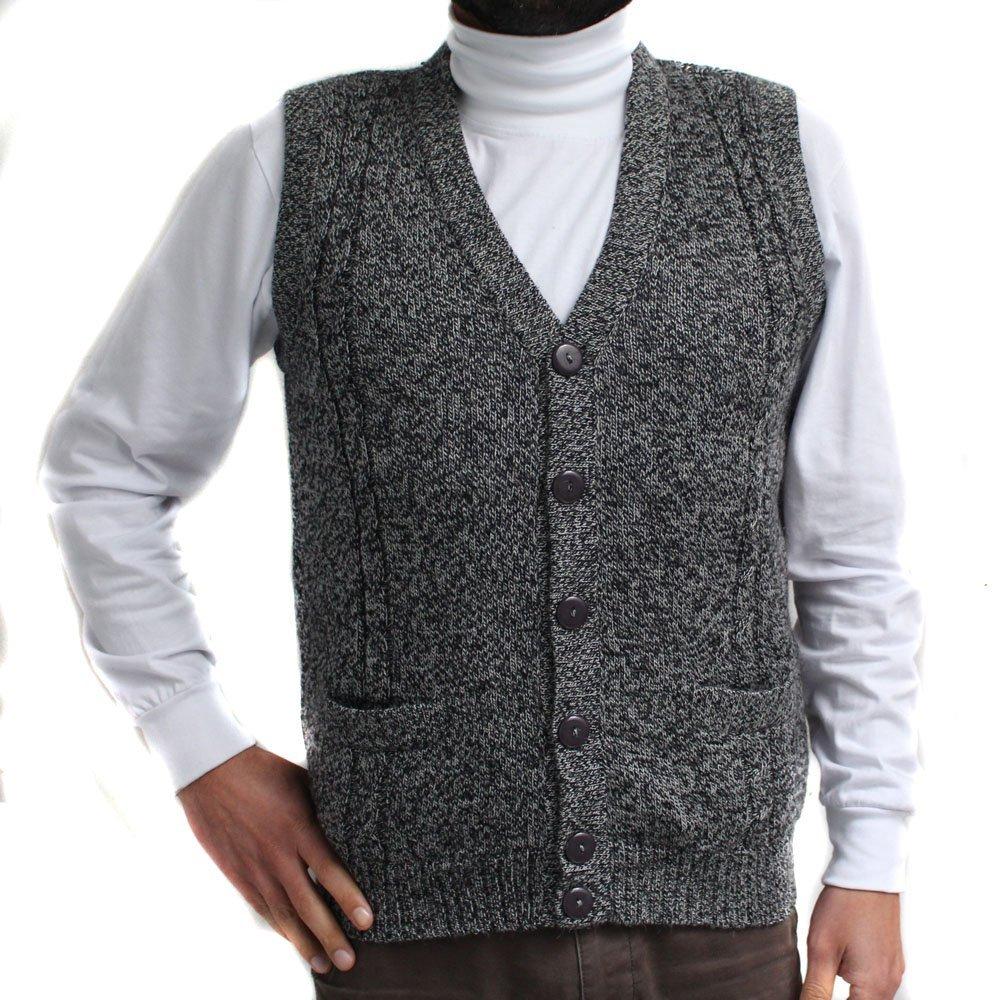 CELITAS DESIGN Alpaca Vest Golf Sweater Jersey BRIAD V Neck Buttons and Pockets Made in Peru Heather Grey XXXL