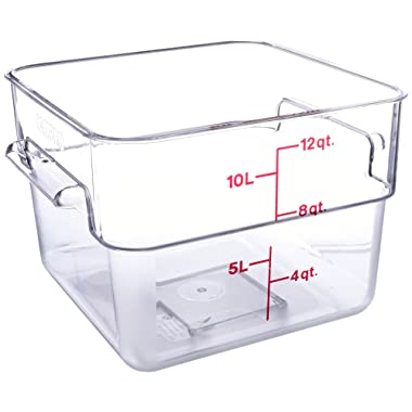 Cambro 12SFSCW135 12-Quart Camwear Square Food Storage Container, Polycarbonate, Clear, NSF