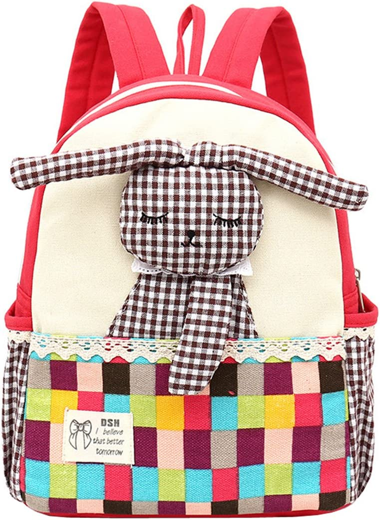 ANKOEE Sac /à Dos Enfant Fille Lapin Bambin Cartable Maternelle Garderie Pr/é Sac Cartable Scolaire Rouge