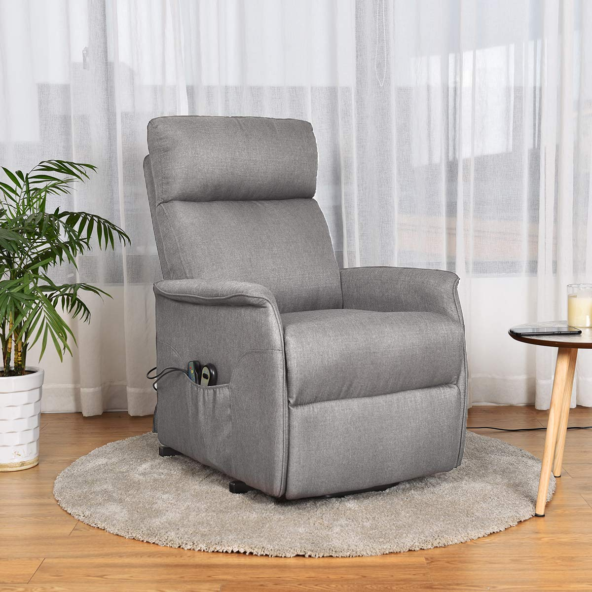Giantex Power Lift Massage Recliner Chair for Elderly, Soft Fabric Sofa Chair, Heavy Padded Cushion, Remote Control, Home Theater Seating, Leisure Lounge w Side Pocket, Living Room Office Grey