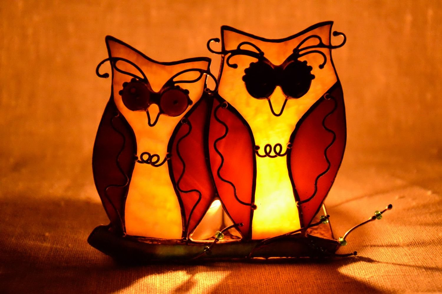 Stained Glass Candlestick ''Owls''