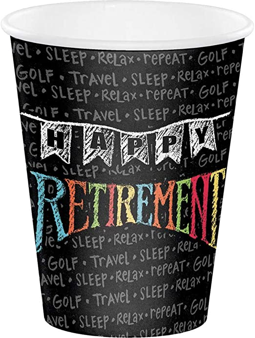 Amazon Com Retirement Chalk Paper Party Cups X 8 Kitchen Dining