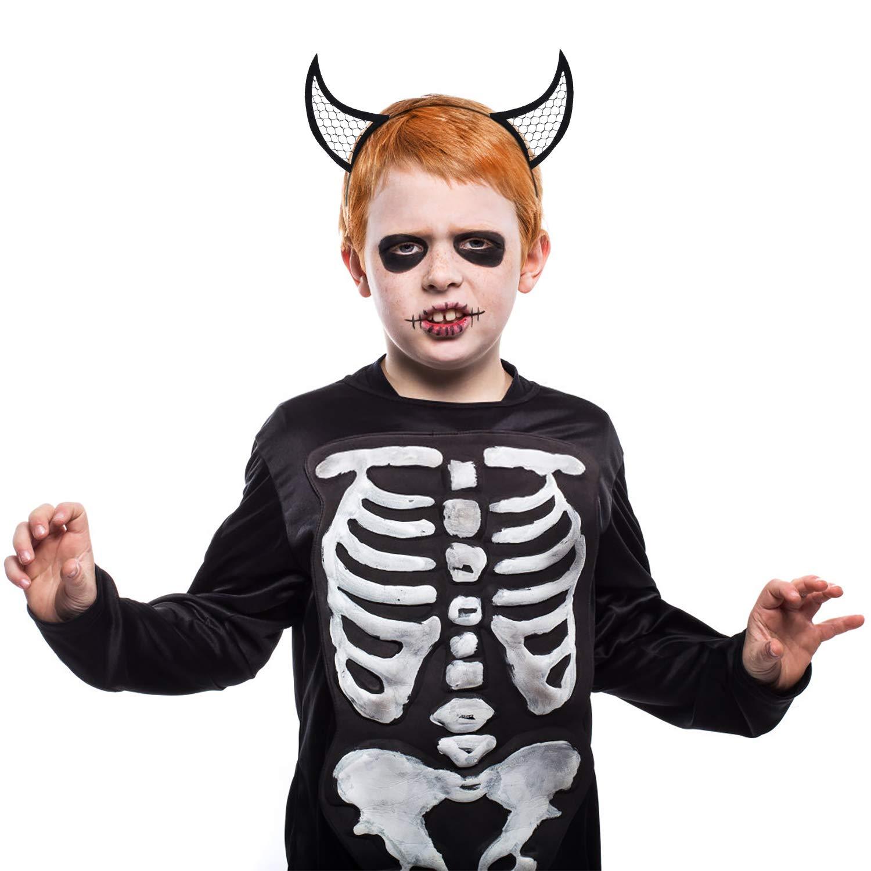 ZOYLINK 6 PCS Halloween Haarreif -Teufelshörner Haarreif, Spinnen Kopfschmuck und Fledermaus Stirnband Karneval Fasching Halloween Mädchen Dame