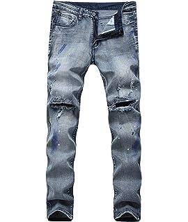 Laisla fashion Denim Pants Men RT Jean Délavé Délavé Pantalon Slim en Denim  Classique Déchiré avec 97d0c7aa9cee