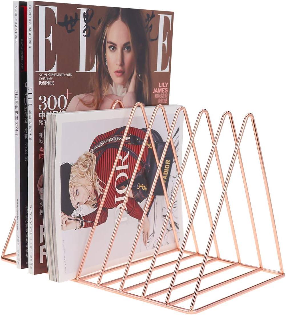 Newspaper Rack Bookshelf Magazine Holder Gold Triangle Iron Book Rack Desk Accessories for Office Home School MORIGEM Desk Organiser 11 Slots Display Book Stand