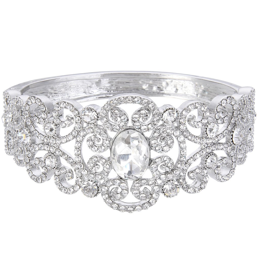 EVER FAITH Austrian Crystal Victorian Inspired Gorgeous Wedding Knot Bangle Bracelet Clear Silver-Tone