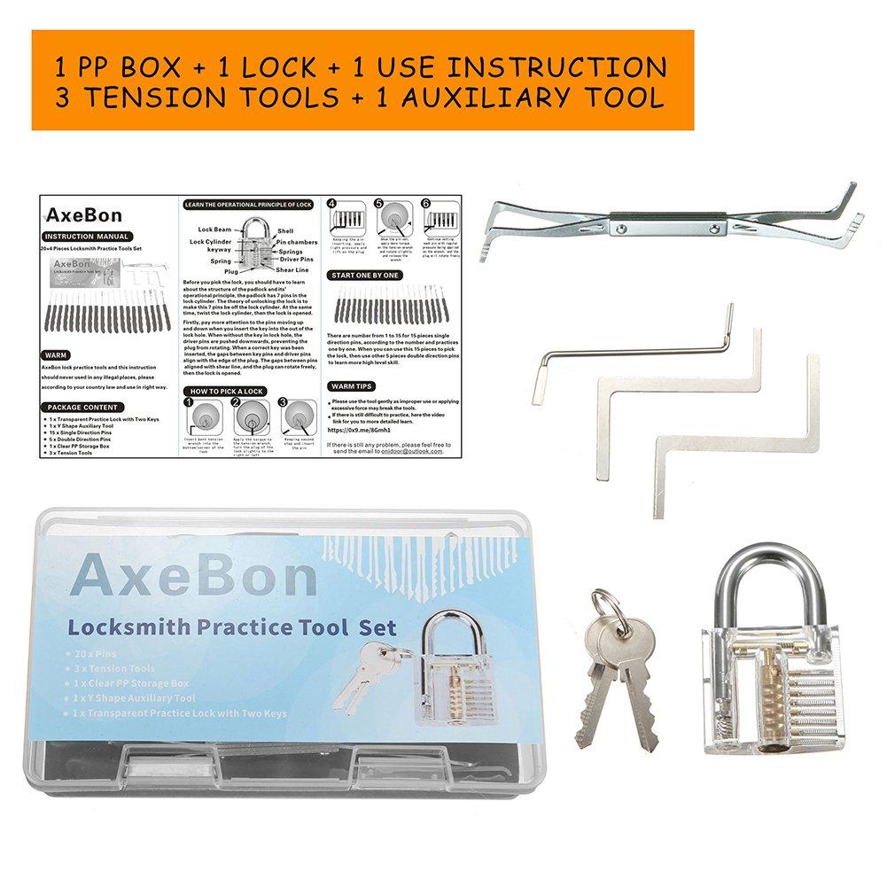 25 PCS Set de Entrenamiento con Candado Transparente, AxeBon Lock Picking Set, Clave Extractor Cerrajería Herramientas de Práctica para Principiantes: ...