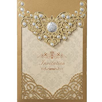 Amazon Com Kln Dress 50pcs Vintage Wedding Invitations