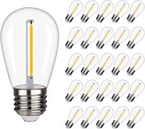 25 Pcs iSoptox S14 LED Edison Replacement Light Bulbs for Outdoor String Lights, Waterproof & Shatterproof, 1W Equivalent to 10W Incandescent Bulb, Warm White 2200K Vintage LED Filament Bulb, E26 Base