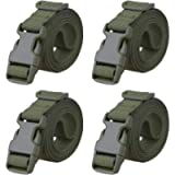 MAGARROW 78' x 1' Strap Buckle Packing Straps Adjustable 1-Inch Belt Luggage Buckle Straps (Army Green (4-PCS))