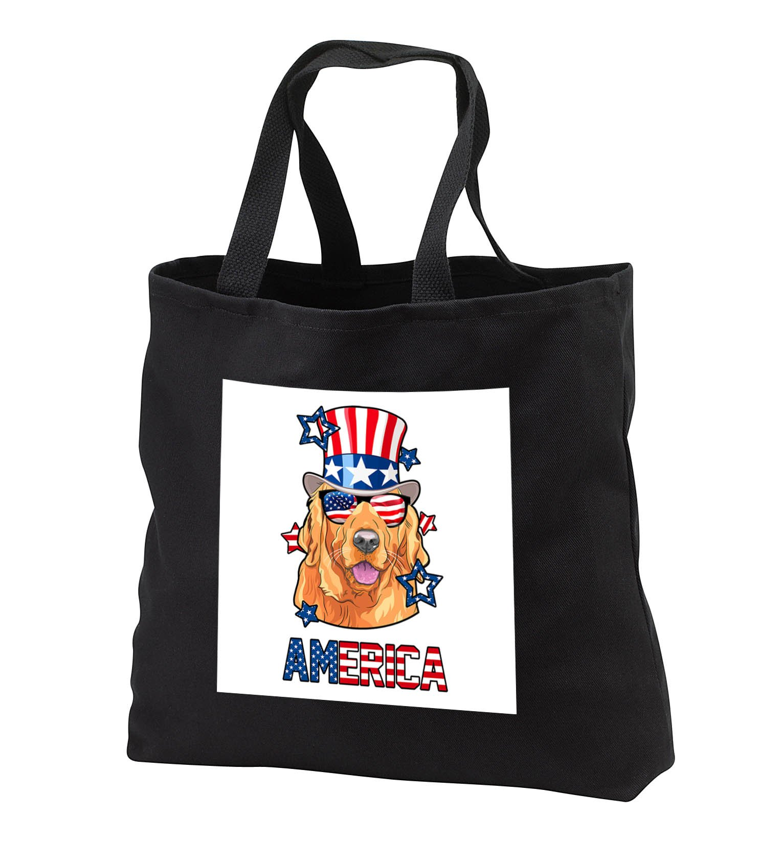 Patriotic American Dogs - Labrador Retriever With American Flag Sunglasses Tophat Dog America - Tote Bags - Black Tote Bag 14w x 14h x 3d (tb_284223_1)