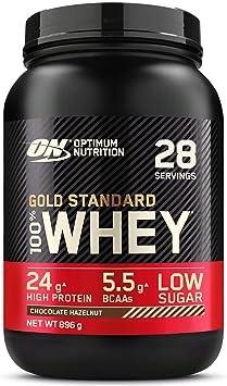 Optimum Nutrition Gold Standard 100% Whey Proteína en Polvo, Glutamina y Aminoácidos Naturales, BCAA, Chocolate y Avellana, 28 Porciones, 896 g, ...