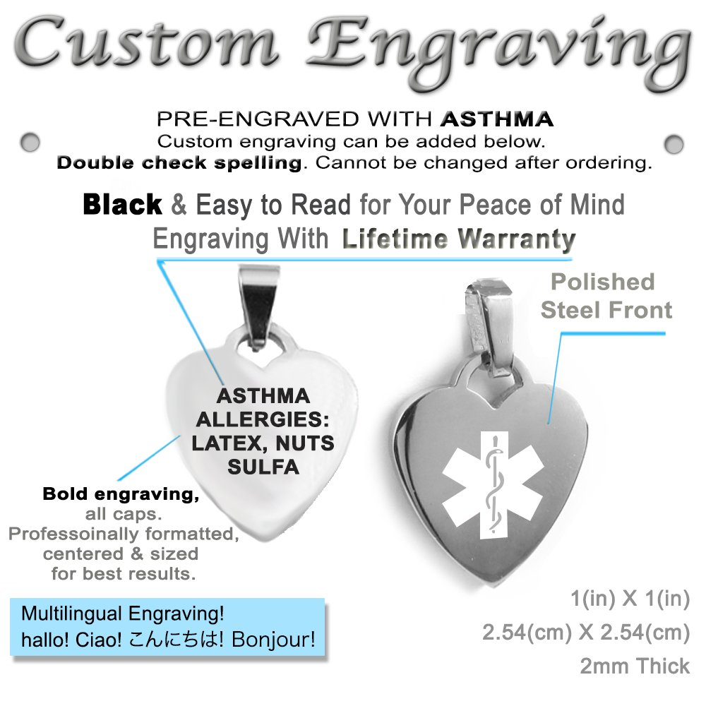 Steel White Pre-Engraved /& Customized Asthma Medical Alert Heart Pendant Necklace My Identity Doctor