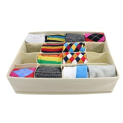 Underwear Organizer,Foldable Cloth Storage Box, Closet Dresser Drawer For  Socks,Underwear 16