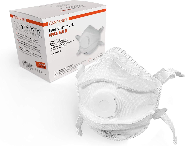 FFP3 - Mascarillas respiradoras con válvula de exhalación (x5) - Cumple con las normas EN 149:2001 y A1:2009, diadema acolchado para mayor comodidad y seguridad (Tipo B - Pack de 5)