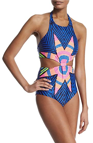 ba67e85886f25 Oops Style Womens Tropical Tribal Starbasket Knot Front Padded One Piece  Swimsuits, X-Large