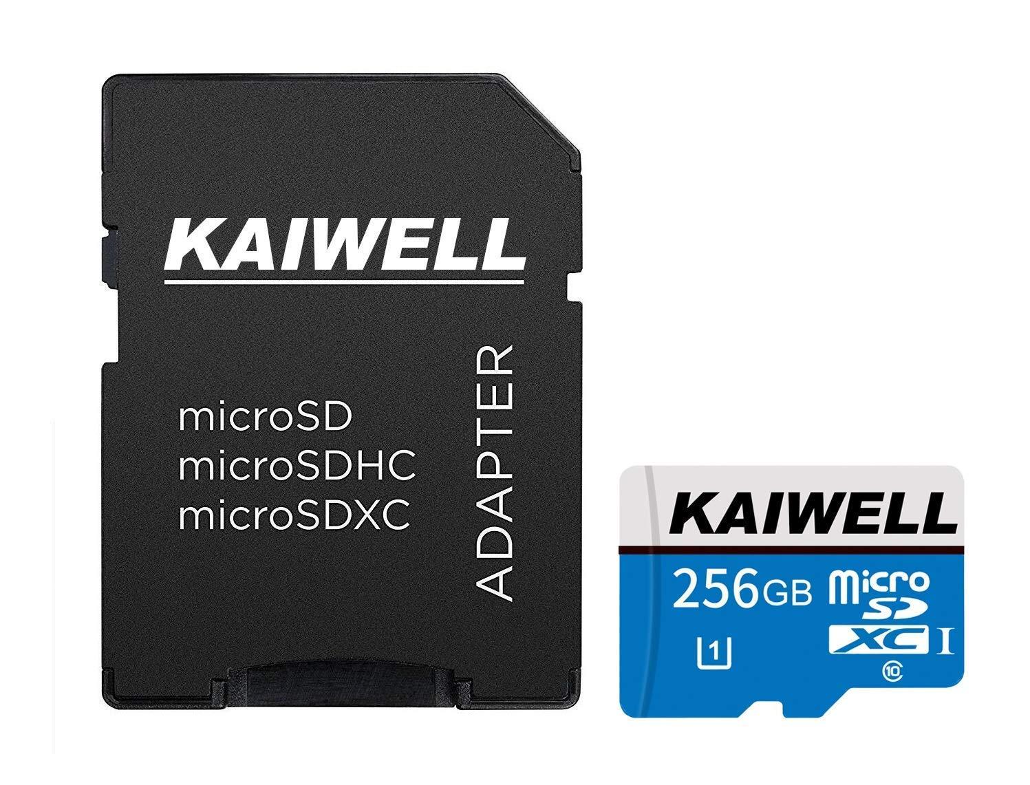 KAIWELL Micro-SD-Karte 256 GB 128 GB//256 GB//400 GB, High Speed, Class 10, SDXC, mit Adapter