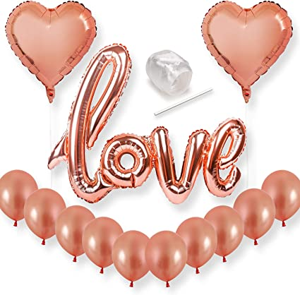 Rose Gold Love Heart Foil Balloon Engagement Wedding Birthday Party Supplies