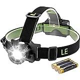 LE Linterna frontal LED CREE, Linterna de Cabeza 5 Modos, Zoomable, Luz roja trasera, Alcance Máx. 160m, Resistencia al agua, Pilas incluidas, Acampadas, Excursiones, Correr, etc.