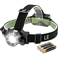 LE Zoomable CREE LED Headlamp, Water Resistant Head Torch with Red Warning Lights, 3 Brightness Modes, Battery Powered and Included Headlight for Sports Cycling Camping Running Hiking Reading