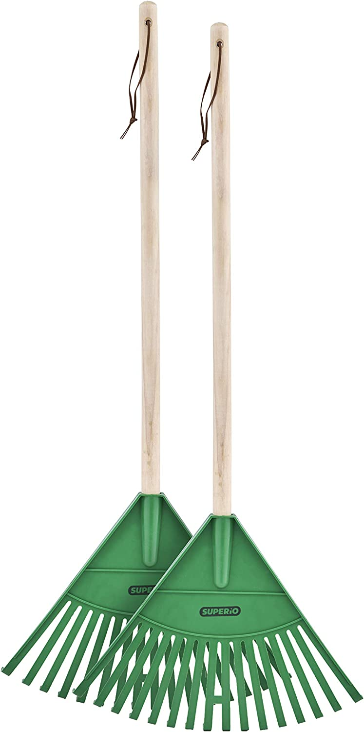 Superio Kids Garden Rake with Hardwood Handle 2 Pack - Durable Plastic Green Head to Sweep Leaves in Lawn and Tidying Up The Garden 34 ""