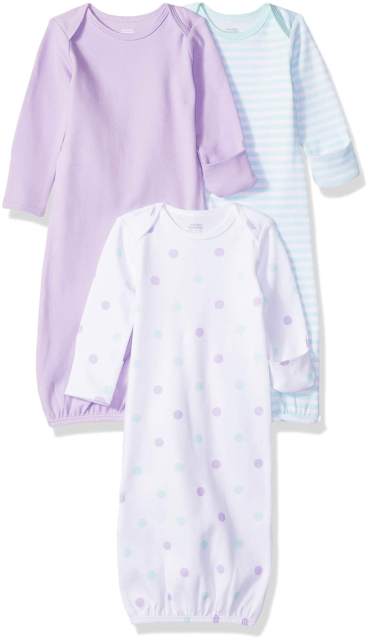 Amazon Essentials Baby Girls 3-Pack Sleeper Gown, Dots, 0-6M