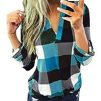 MNLOS Camiseta con Cuello en V para Mujer Blusa de Manga Larga a Cuadros Casual Camisa Tops