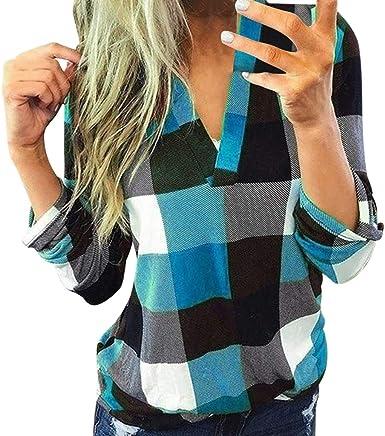 Moent Sales Plus Mujeres Casual algodón Manga Larga Camisa de Cuadros Camisa de Mujer Delgada Chaqueta Top, Tops para Mujeres Clearance tamaño otoño Invierno Blusa: Amazon.es: Ropa y accesorios