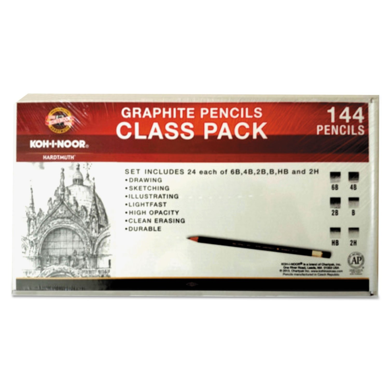 Toison D'or Graphite Pencils, 3.8 Mm, Class Pack, 6 Shades, 6b-2h, 24/set by KOH-I-NOOR