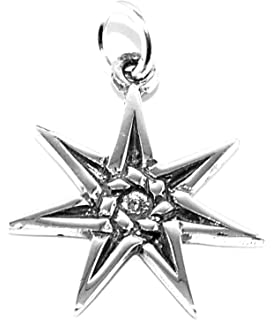 Heptagram pendant necklace 7 seven point fairy star amazon small sterling silver heptagram pagan pendant necklace 7 seven point fairy star aloadofball Choice Image
