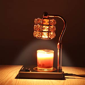 Candle Warmer, Crystal Lampshade Candle Lamp Warmer, Electric Candle Wax Warmer, No Flame Candle Lamp Adjustable Height and Brightness Warmer Lamp for Bedroom Decor (Gold)