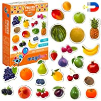 MAGDUM PHOTO FRUITs&Berries - magnets for kitchen -real LARGE fridge magnets for toddlers- Magnetic EDUcational toys…