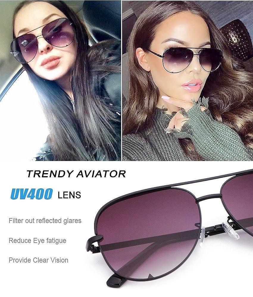 6ecdbd9c1 Amazon.com: Eyerno Mirrored Aviator Sunglasses For Men Women Fashion  Designer UV400 Sun Glasses(Black/Grey): Clothing