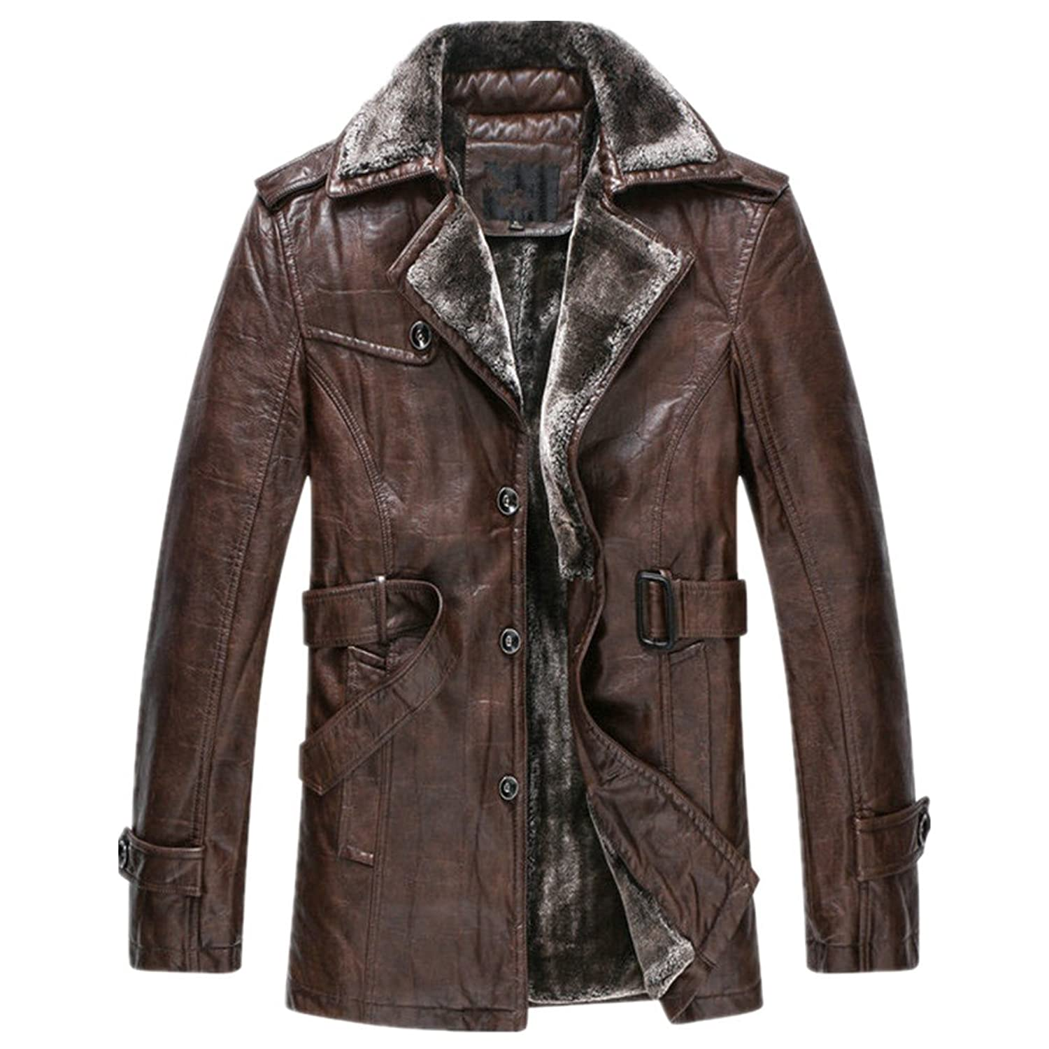 Oyvind Norberg® Herren Winter Turndown Kragen Parka Thick Sheep Split Leather Jacket