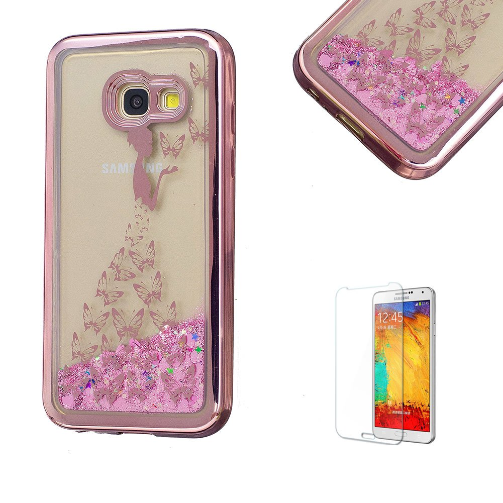 For Samsung Galaxy A5 2017 Case, Funyye Transparent Electroplate Plating Frame +New Creative Floating Water Liquid Small Love Hearts Design Color Change Soft TPU Shock Proof Case for Samsung Galaxy A5 (2017 Model)-Eiffel FUNYYE0026062