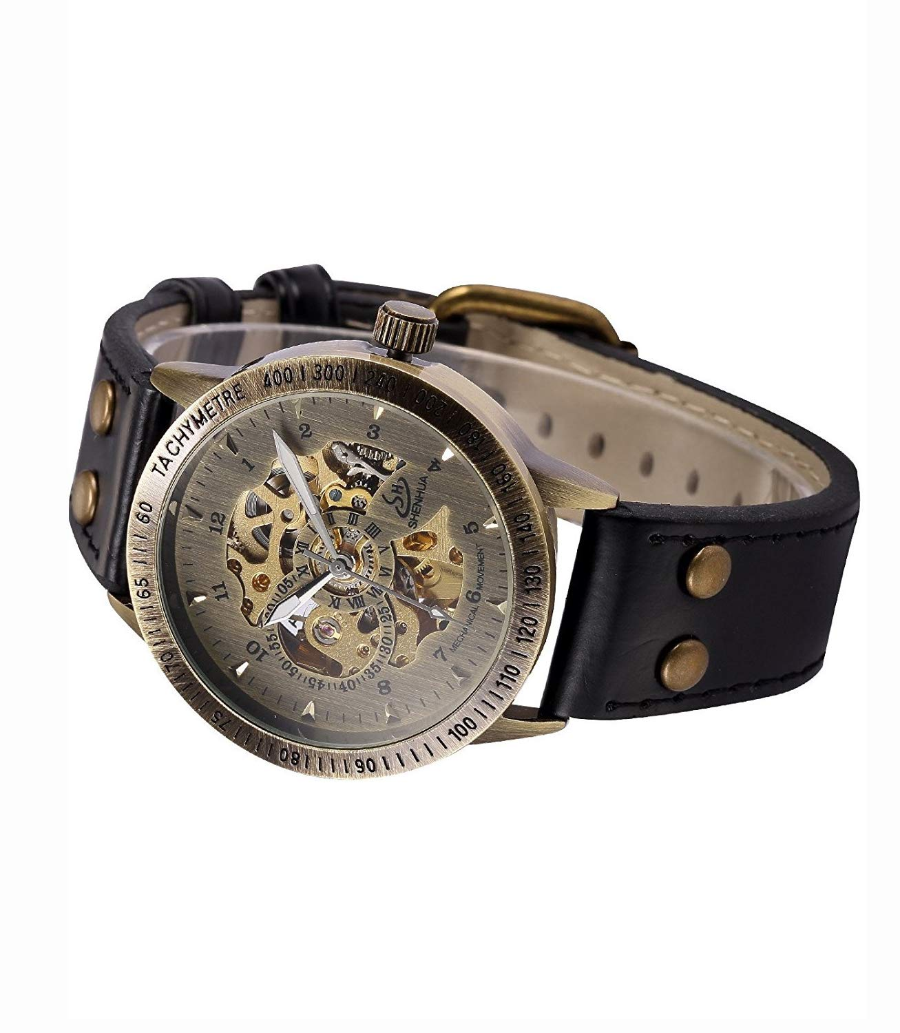 Carrie Hughes Men's Vintage Steampunk Automatic Mechanical Leather Watch 5