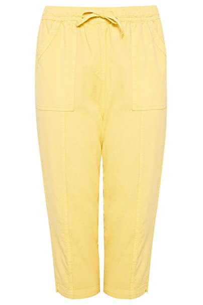 dda1303a0dc Yours Clothing Women s Plus Size Cotton Cropped Trousers  Amazon.co ...