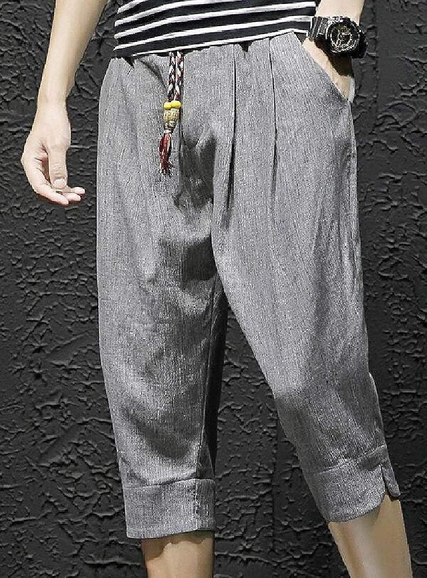Jmwss QD Mens Casual Linen Elastic Waistband Beach Lounge Pants