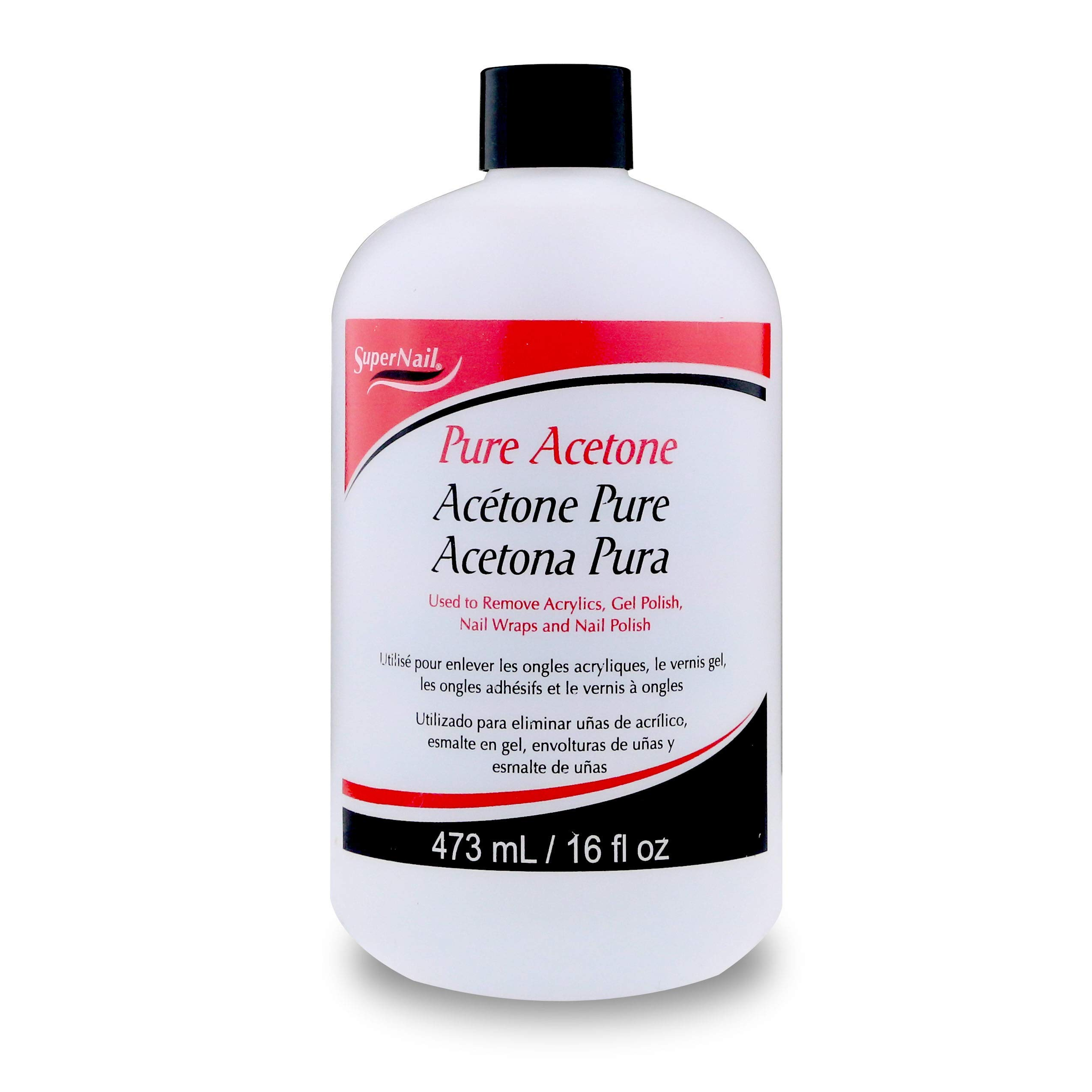 Super Nail Pure Acetone, AS SHOWN 16 Fl Oz