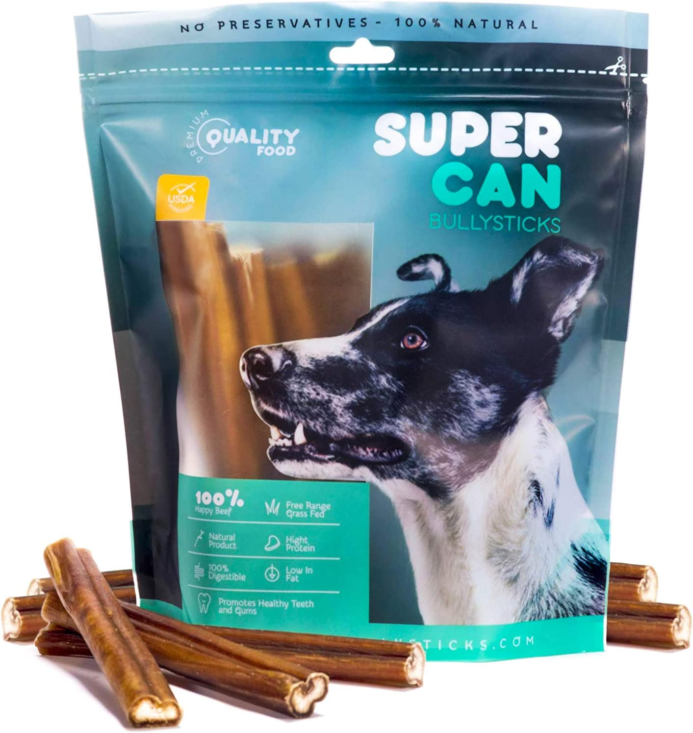 SUPER CAN BULLYSTICKS – Bully Sticks for Dogs 100 Natural and Healthy Dog Treats – High Protein, Naturally Scented Chews – 6 Inch Premium Free Range Grass Fed Beef Stick