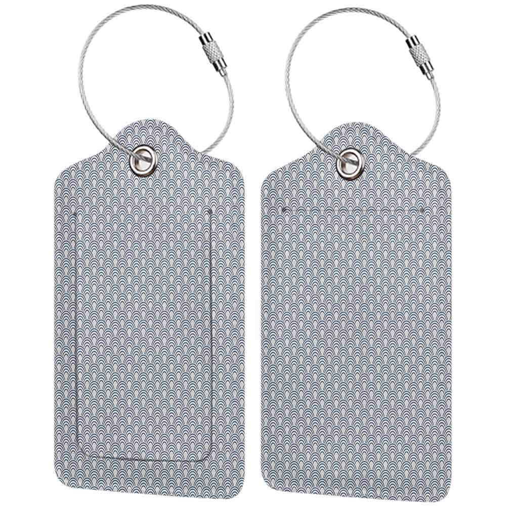 Decorative luggage tag White Conceptual Ocean Waves Stylized with Half Circles Abstract Seascape Coastal Pattern Suitable for travel Blue White W2.7 x L4.6