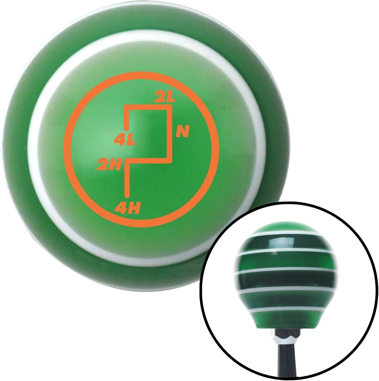 Orange Transfer Case #6 American Shifter 127655 Green Stripe Shift Knob with M16 x 1.5 Insert