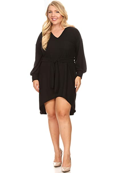 Long Puff Sleeve V Neck Plus Size Dress for Women with Tie Belt - Made in  USA
