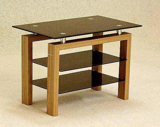 Roble y cristal negro mesa para TV, mesa de TV de roble con parte ...