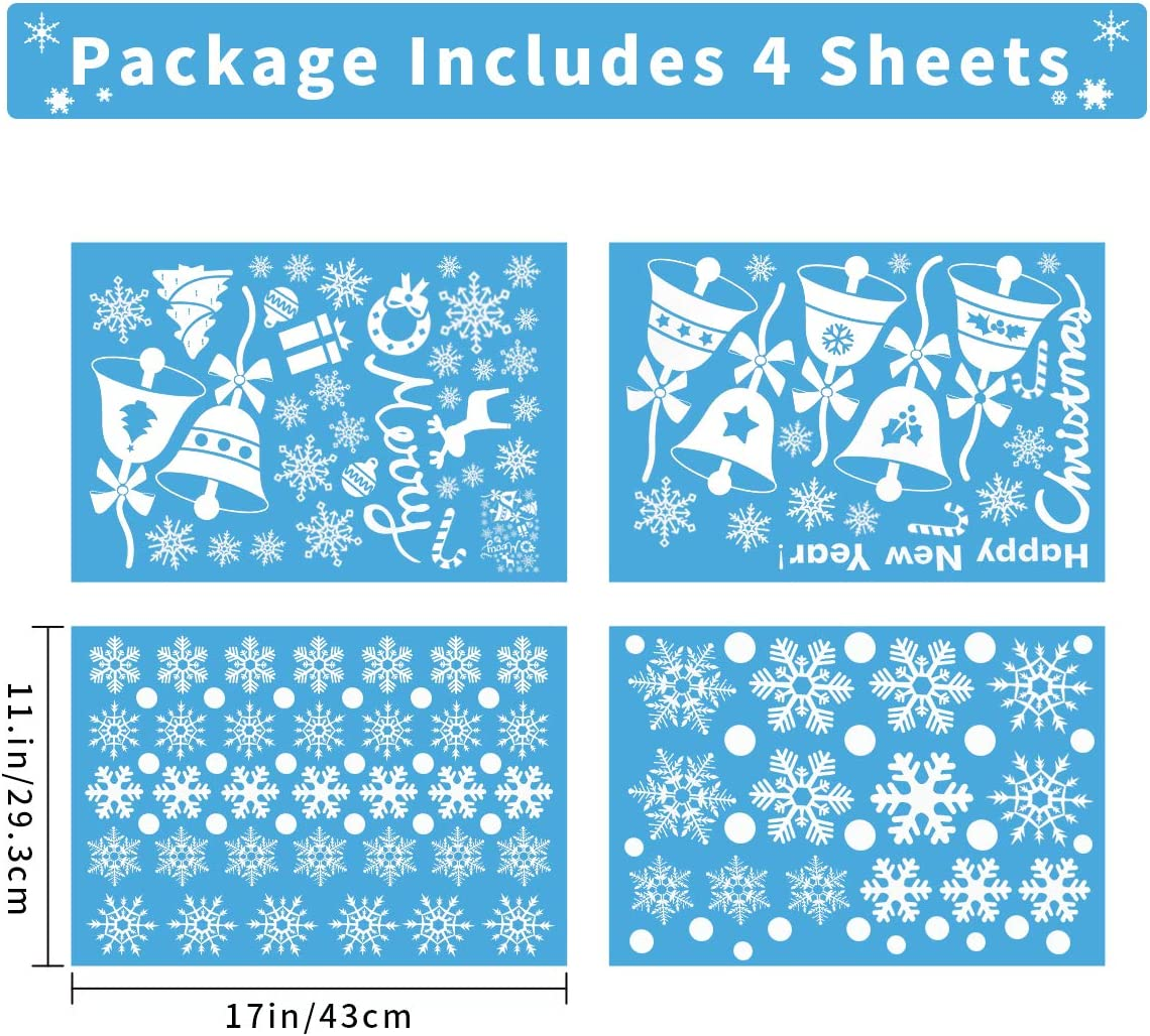 Christmas Window Stickers for Kids Wedding Birthday Holiday Party Decorations HARBORII Christmas Stickers,145PCS Decoration White Snowflake Sticker